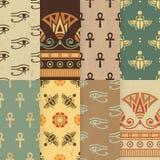 Reeks van naadloze vectorillustratie acht van Egyptisch nationaal ornament stock illustratie