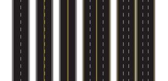 Reeks van Naadloze Weg die op een Wit Geïsoleerde Achtergrond merken Hoogste mening De rechte Malplaatjes van Weginfographic Eps  royalty-vrije illustratie