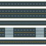Reeks van naadloze wegachtergrond Rechte asfaltwegen met verschillende soorten weg het merken royalty-vrije illustratie