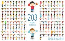Reeks van 203 nationale verdedigers van het sportteam van over de hele wereld Vectorillustratie royalty-vrije illustratie