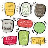 Reeks van Natuurlijke bannereco product, Veganist, Organisch, Vers, Gezond voedsel vector illustratie