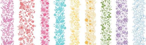 Reeks van Negen Abstracte Bloemen Verticale Naadloos Stock Foto's