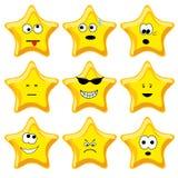 Reeks van negen beeldverhaal gouden sterren Stock Fotografie