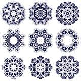 Reeks van negen cirkelpatronen Stock Afbeeldingen