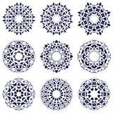 Reeks van negen cirkelpatronen Royalty-vrije Stock Foto's