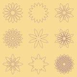 Reeks van negen geometrische bloemen Stock Afbeeldingen