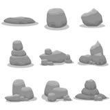 Reeks van negen grijze rotsvector stock illustratie
