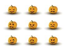 Reeks van negen Halloween-pompoengezichten met emoties Stock Afbeeldingen