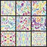 Reeks van negen hand-drawn naadloze patronen Royalty-vrije Stock Foto
