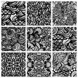 Reeks van negen hand-drawn naadloze patronen Stock Afbeelding