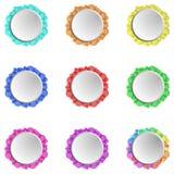 Reeks van negen kleurrijke gestileerde cirkels stock illustratie