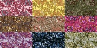 Reeks van negen kleurrijke naadloze patronen. Stock Afbeelding