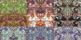 Reeks van negen kleurrijke naadloze patronen. Stock Afbeeldingen