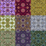 Reeks van negen kleurrijke naadloze patronen. Royalty-vrije Stock Foto
