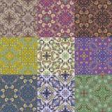 Reeks van negen kleurrijke naadloze patronen. Royalty-vrije Stock Afbeelding