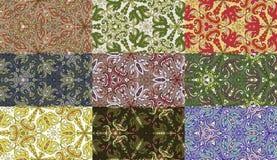 Reeks van negen kleurrijke naadloze patronen. Stock Fotografie