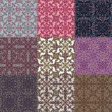 Reeks van negen kleurrijke naadloze patronen. Royalty-vrije Stock Afbeeldingen