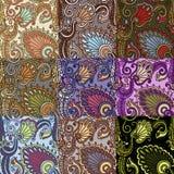 Reeks van negen kleurrijke naadloze patronen. Eps-8. Stock Afbeelding