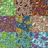 Reeks van negen kleurrijke naadloze patronen. Eps-8. Stock Foto's