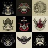 Reeks van negen kunstetiket royalty-vrije illustratie