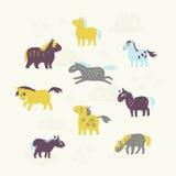 Reeks van negen leuke paarden royalty-vrije stock afbeeldingen