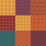 Reeks van negen naadloze patronen Royalty-vrije Stock Afbeelding