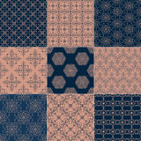 Reeks van negen naadloze patronen Royalty-vrije Stock Afbeeldingen