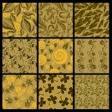 Reeks van negen Naadloze patronen van bladeren Stock Fotografie