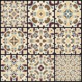 Reeks van negen naadloze patroon witte kleurrijke ornamenten Stock Foto