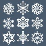 Reeks van negen sneeuwvlokken Royalty-vrije Stock Afbeeldingen