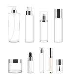 Reeks van negen transparante kosmetische buizen Vector Stock Fotografie