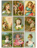 Reeks van negen uitstekende meisjes antieke handelkaarten stock illustratie