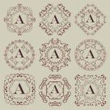 Reeks van negen uitstekende monogrammen Stock Afbeelding