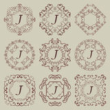 Reeks van negen uitstekende monogrammen Stock Afbeeldingen
