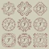 Reeks van negen uitstekende monogrammen Royalty-vrije Stock Fotografie