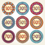 Reeks van negen uitstekende verkooppictogrammen vector illustratie