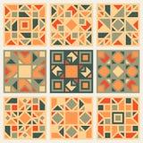 Reeks van Negen Vector Geometrisch Vierkant die het Ontwerpelement van het Dekbed Retro Patroon in Oranje en Groene Kleuren wordt Stock Afbeelding