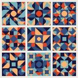 Reeks van Negen Vector Naadloze Blauwe Oranje Witte het Patrooninzameling van het Kleuren Retro Geometrische Etnische Vierkante D Stock Fotografie
