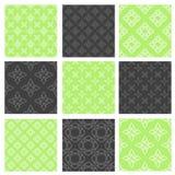 Reeks van negen vector naadloze patronen Stock Fotografie