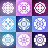 Reeks van Negen Vectormandala decorative ornaments illustration Royalty-vrije Stock Afbeelding