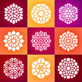 Reeks van Negen Vectormandala ornaments illustration Stock Illustratie
