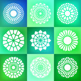 Reeks van Negen Vectormandala ornaments illustration Stock Foto's