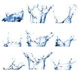Reeks van negen waterplonsen Royalty-vrije Stock Fotografie