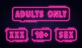 Reeks van neontekens, volwassenen slechts, 18 plus, geslacht en xxx Beperkte inhoud, erotische videoconceptenbanner, aanplakbord stock illustratie