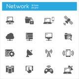 Reeks van netwerk de vlakke grijze pictogrammen van 16 Stock Foto
