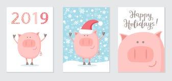 Reeks van Nieuwjaar 2019 kaarten met een gelukkig varken stock afbeelding