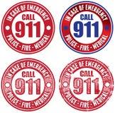 Reeks van Noodsituatie 911 Zegels Royalty-vrije Stock Afbeelding