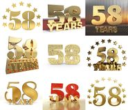 Reeks van nummer achtenvijftig jaar het ontwerp van de 58 jaarviering Het malplaatjeelementen van het verjaardags gouden aantal v stock illustratie