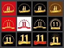 Reeks van nummer elf 11 van het vieringsjaar ontwerp Het malplaatjeelementen van het verjaardags gouden aantal voor uw verjaardag royalty-vrije illustratie