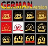 Reeks van nummer negenenzestig 69 van het vieringsjaar ontwerp Het malplaatjeelementen van het verjaardags gouden aantal voor uw  vector illustratie